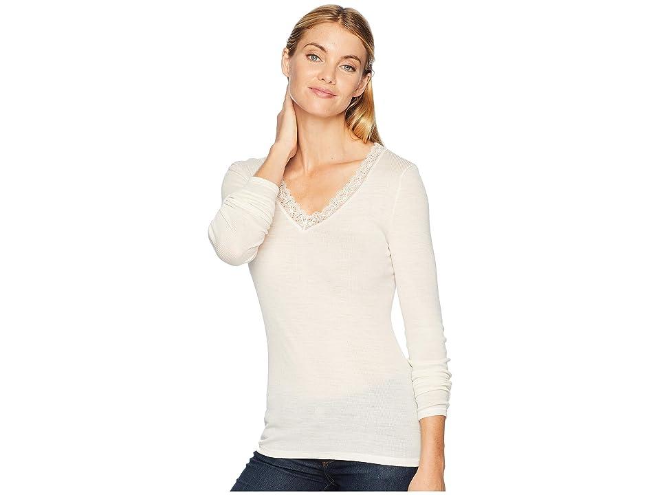 Hanro Woolen Lace Long Sleeve Shirt (Vanilla) Women