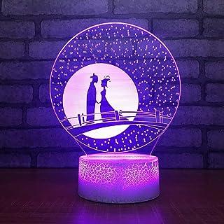 Décoration de Chambre à Coucher Cadeaux d'éclairage 3D LED veilleuse de noël Pie Pont Amant modélisation Bouton Tactile US...