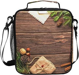 Sac à déjeuner isotherme carré, portable et de grande capacité, motif carte postale de Noël, de Nouvel An, pour voyage, pi...