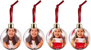 Pack of 4 Hanging Photo Ball Ornaments - Plastic Balls for Displaying Photos and DIY Craft Use - Great for Decorating Christmas Trees - Ready to Hang with Satin String, 2.7 Inches in Dia., Clear