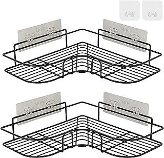 浴室用収納 ラック AIFHI 台所収納ラック コーナーラック シャワーラック お風呂ラック 三角棚壁掛け 壁傷つけない 強力粘着固定 ドリル不要 錆びない 多機能収納 2個入 ブラック