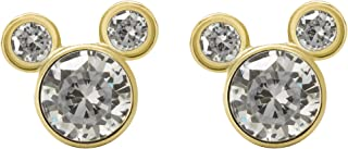Disney Jewelry Mickey or Minnie Mouse 10k Yellow Gold Cubic Zirconia Stud Earrings