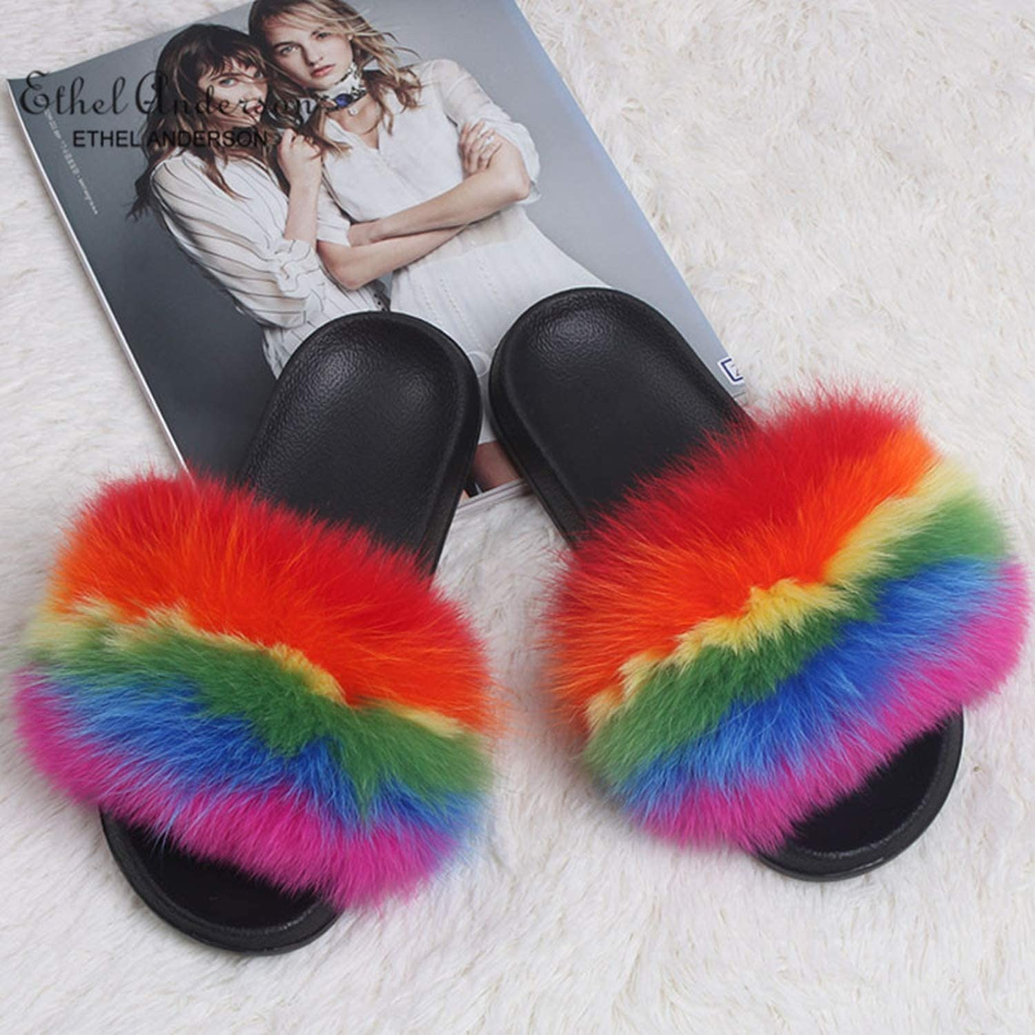 Fashion Real Raccoon Fur Slippers Slides Indoor Flip Flops Casual Vogue Summer Fox Fur Sandals Vogue Plush shoes