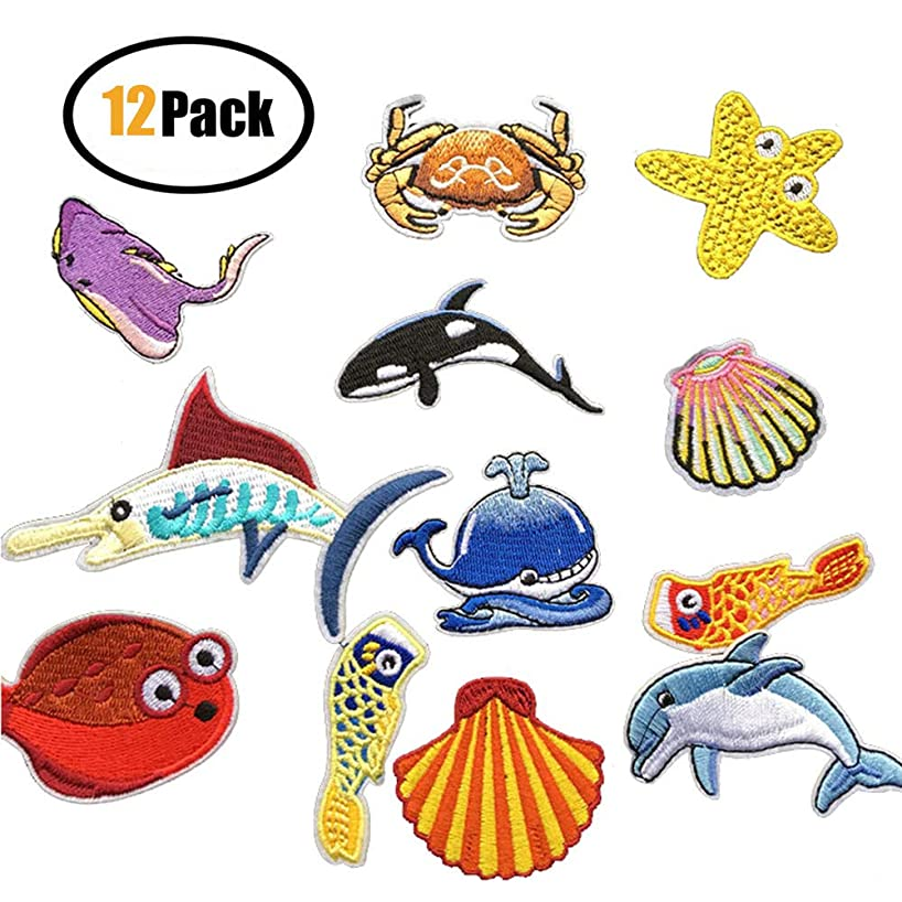 12 Pcs Delicate Embroidered Patches,Marine Animals Embroidery Patches, Iron On Cute Patches, Sew On Applique Patch, Cool Patches Boys, Girls, Kids