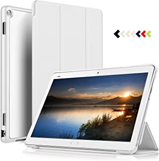 ELTD Funda Carcasa para Huawei MediaPad M3 Lite 10, Ultra Delgado Silm Stand Función Smart Fundas Duras Cover Case para Huawei MediaPad M3 Lite 10 Tableta, (Blanco)