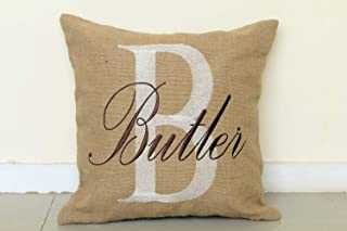 DecorHouzz Personalised Last Name Embroidered Decorative Burlap Custom Pillow For Entryway Farmhouse Porch Housewarming Realtor Wedding Anniversary