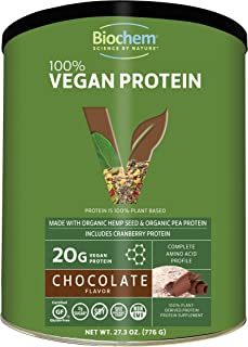 Biochem 100% Plant Protein - Chocolate - 27.3 Oz - 20g Vegan Protein - Complete Amino Acid Profile - KETO-Friendly - Hemp ...