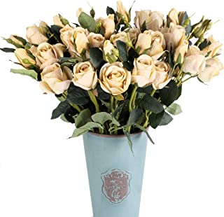 Blooming Paradise Pack of 4 Silk Rose with 3 Heads Artificial Fake Flower Arrangements Wedding Bouquets Decor Plastic Floral Home Kitchen Garden Party Real Looking Table Floral centerpieces(Yellow)