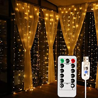 MagicLux Tech USB 300 LED Curtain Light with 8 Modes with Remote Controller Decoration for Dining Room, Windows, pavilions, Fences, Flower Sheds, patios; Christmas, Holiday(Warm White)
