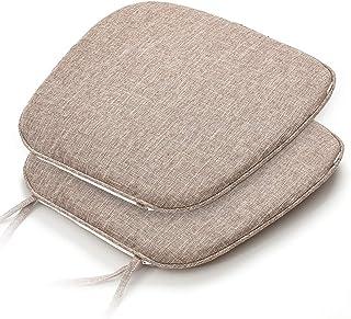 Shinnwa 椅子 座布団 2枚セット 洗える チェアパッド 馬蹄形 ひも付きテーブル 椅子クッション 食卓椅子の座布団 ダイニングチェア用クッション すべり止め 43*41CM 濃いベージュ