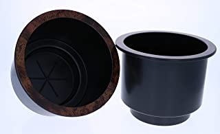 Recliner Parts: Black Plastic Cup Holder with Chrome or Wood Finished Lip, Set of 2 (Wood)