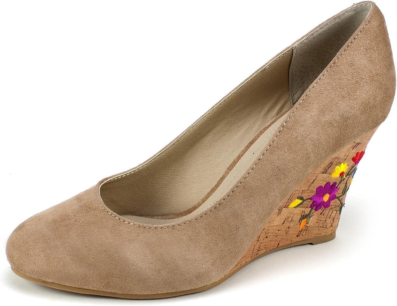 Rialto Womens Calypso Faux Suede Cork Wedge Heels