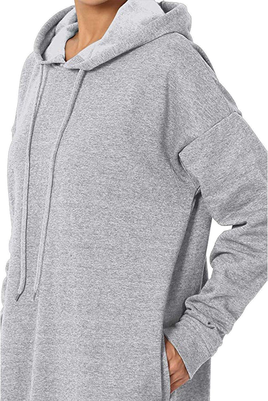 Kidsform Hoodie Damen Lose Kapuzenpullover Langarm Hoodies Kleid Sweatshirt Pulli A-grau