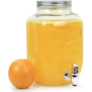 Estilo Glass Beverage Drink Dispenser With Leak Free Spigot, 1 Gallon, Clear