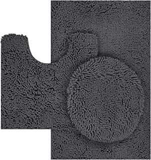TREETONE Chenille Bath Mat 3 Piece Bathroom Rugs Set, 20x20 Inchs U-Shape Contoured Toilet Mat & 20x32 Inchs Rug & 1 Lid Cover,Soft,Water Absorbent Rugs for Tub Shower & Bath Room - Charcoal Gray