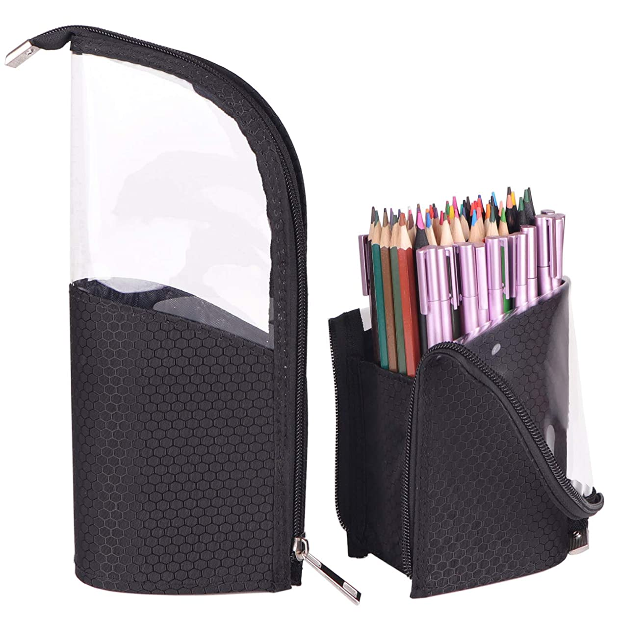 2 Pack Standing up Pencil case with 9 Elastics Slots, Standing Pen Brush Holder, 2-in-1 Travel Pencil Cosmetic Makeup Bag Travel Carry Case to Hold Fountain Pen Gel Pen Pencils Cosmetic Makeup Brushes qjvijopw104