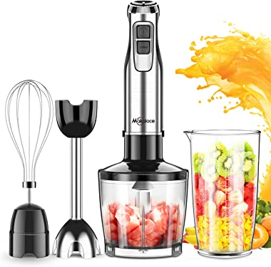 Immersion Hand Blender, Makoloce 800W 4-in-1 12-Speed Stick Blender with 500ml Food Grinder, 600ml Container,Egg Whisk for Pu