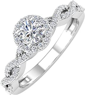 14K Gold Round White Diamond Ladies Solitaire Swirl Halo Engagement Ring (0.40 Carat)