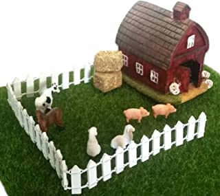 Miniature Barn and Mini Straw Bale Hay Farm Scene Set Bundle of 10 Items - 1 Fairy Garden Barn, 6 Tiny Realistic Farm Animals Sheep, Pigs, Cow, Horse, 2 Real Looking Micro Straw Bales, 1 Picket Fence