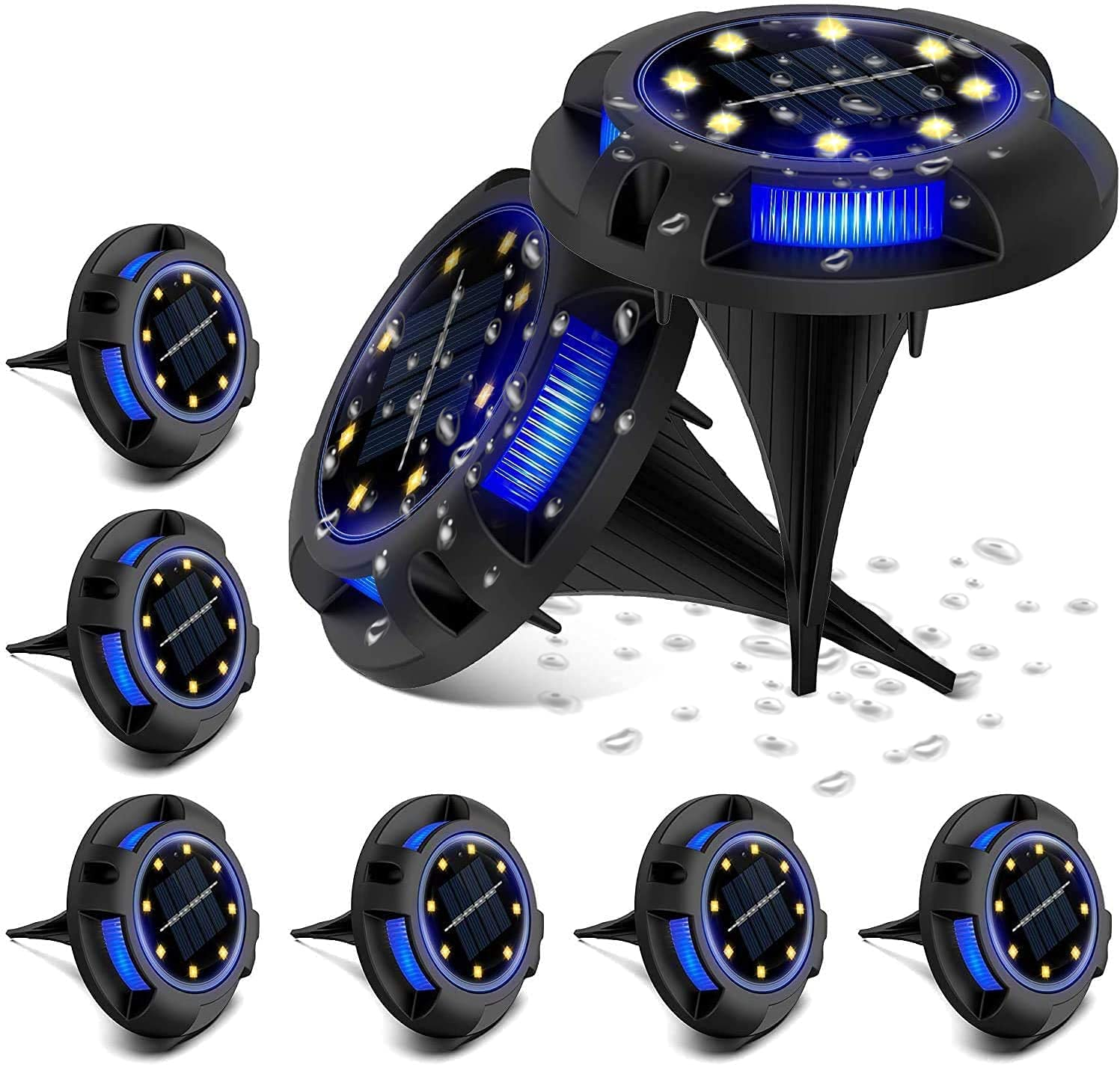 8 Pack 5% OFF Led Solar Ground San Antonio Mall Lights Outdoor Light B Warm 4 LED and