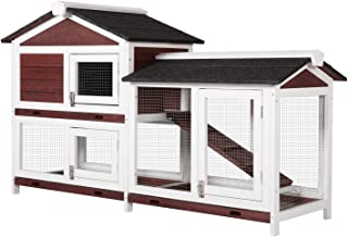 Worldrich Wooden Backyard Rabbit Hutch Bunny Cage Outdoor Small Animal House Poultry Cage with Removable Tray & Ramp