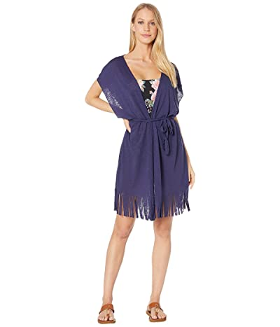 BECCA by Rebecca Virtue Breezy Basics Belted Fringe Kimono Cover-Up (Navy) Women