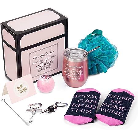 Wine Gifts for Women Wine Tumbler Birthday Gift for Wine Lover Christmas Gift Basket for Mom Wife Sister Girlfriend Bottle Opener/Stopper Loofah Sponge Greeting Card Rose Gold