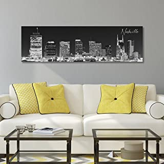 WallsThatSpeak Panoramic Nashville Cityscape Picture, Black and White Stretched Canvas..