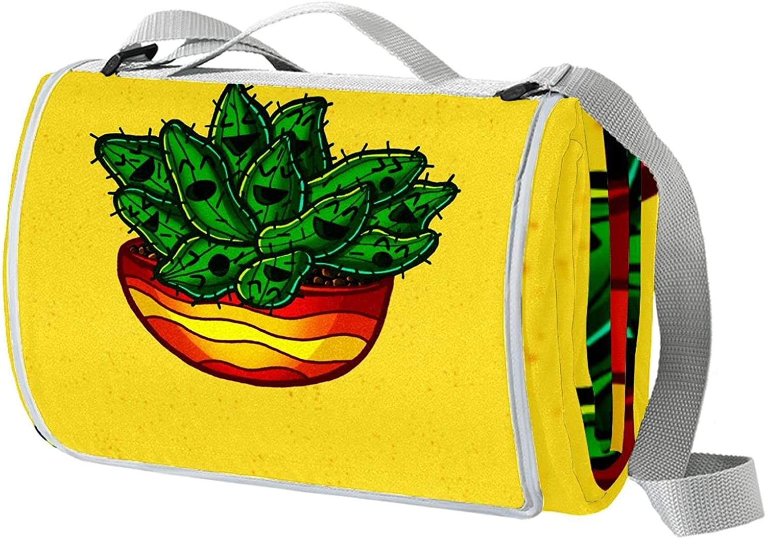 Yellow Cactus Portable Extra Large Strap Limited time trial Max 44% OFF price with Foldin Picnic Mats