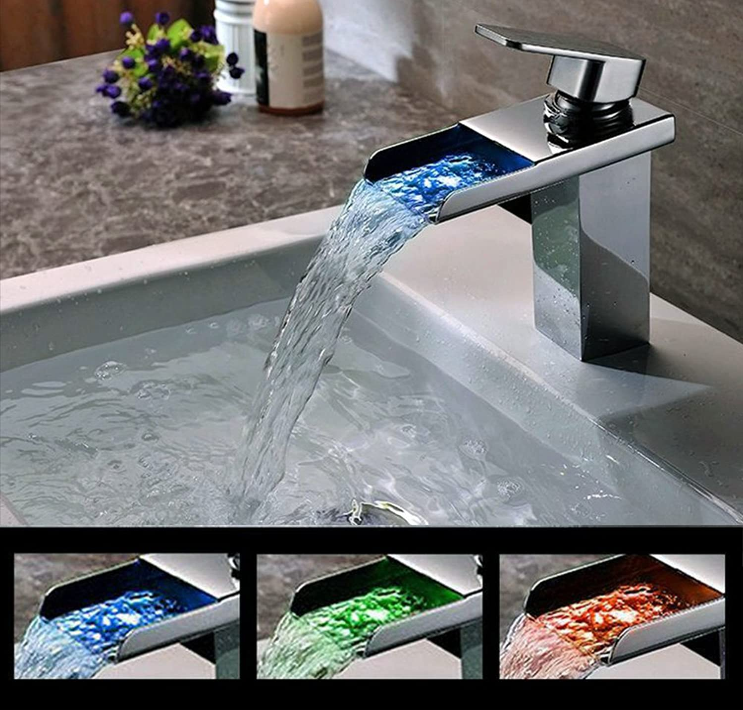 SUNDELY? 7  Tall Hydroelectric Colour Changing LED RGB Light Waterfall Chrome Finish Brass Square Mixer Tap Faucet for Basin Sink in Bathroom Toilet Kitchen