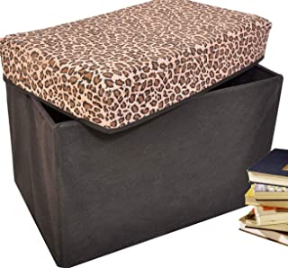 Collapsible Storage Ottoman, Rectangle Shape (Leopard Pattern)