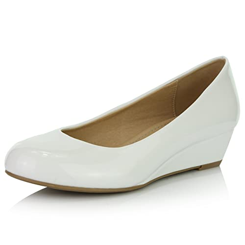 8539ecd84 DailyShoes Women's Comfortable Fashion Low Heels Round Toe Wedge Pumps Shoes