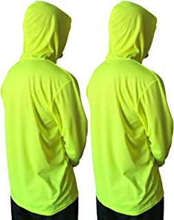 NY GOLDEN FASHION Hi Vis High Visibility T Shirt Long Sleeve Safety Construction Work Shirts with Hood