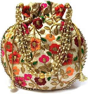 Indian Handicraft Women's/Girls Silk Ethnic Rajasthani Potli Bag (Beige)
