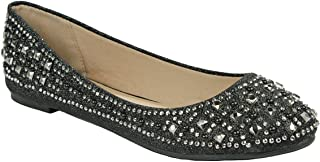 Women Sparkle Pearl Rhinestone Glitter Mesh Loafer Slip On Ballet Flat Dressy Shoes