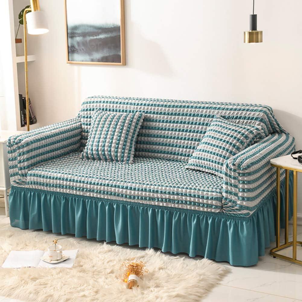 NuAnYI Stretch Sofa Slipcover with Popcorn Skirt lowest price Jacquard Miami Mall Plaid