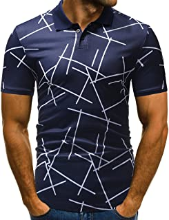 Rmbaby Mens Casual Slim Fit Button-Down Shirts Short Sleeves Printing Tops