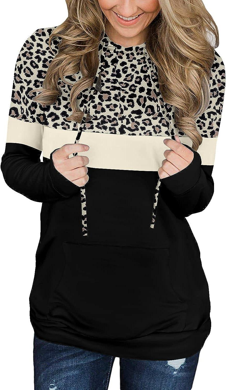 Crazy Grid Hoodies for Women Long Sleeve Sweatshirt with Pocket Color Block Drawstring Tops