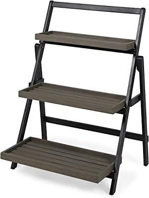 Christopher Knight Home 305558 Mesbin Outdoor Acacia Wood Planter Stand, Black and Gray