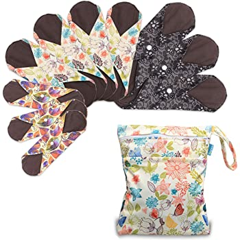 """Teamoy 10Pcs Sanitary Pad, Reusable Washable Cloth Menstrual Pads/Panty Liners with Wet Bag, Super-Absorbent, Soft and Comfortable(3pcs×7.9""""+4pcs×10""""+3pcs×11.6"""")"""