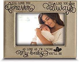 BELLA BUSTA - I'll Love You Forever, I'll Like You for Always, as Long as I'm Living, My Baby You'll be - Engraved Leather Picture Frame- Family Frame-New Baby Frame-Couple Frame (5