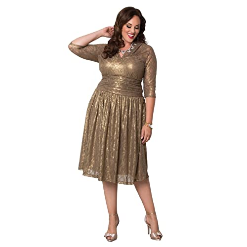31430a02954 Kiyonna Women s Plus Size Limited Edition Metallic Maven Lace Dress