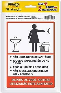 Placa p/sinaliz. 14x19 banheiro fem/masc 891748 Pimaco, BIC, 891748, Multicor, pacote de 2