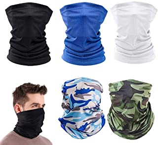 Generies 5Pack UV Protection Face Mask Unisex Elastic Turban Bandana Scarf Cover Bike Fishing Hunting Outdoor Travel Camping