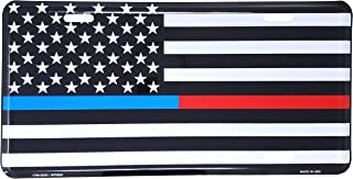 Thin Blue/Red Line USA Metal License Plate – 6x12 inch Black and White American Flag Auto Tag for Cars and Trucks - In Support of First Responders - Police, Firefighters, EMS
