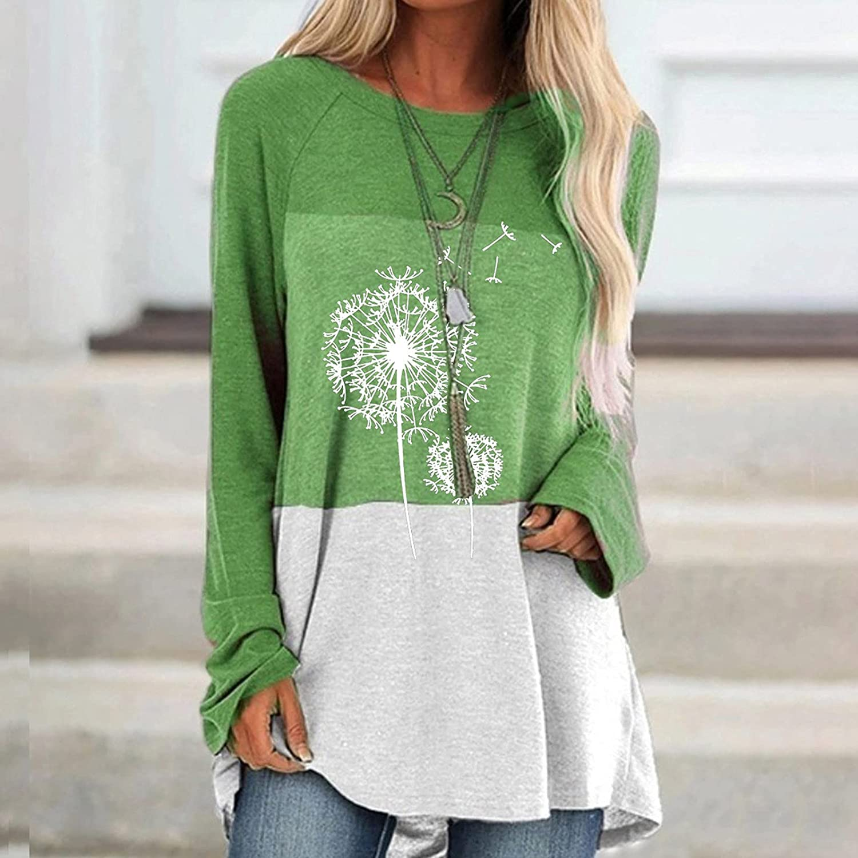 JPVDPA Womens Color Block Sweatshirt Crew Neck Long Sleeve Shirts Daily Casual Fall Tunic Tops for Leggings
