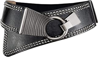 Women's Fashion Vintage Wide Waist Belt Elastic Stretch Cinch Belts With Interlock Buckle