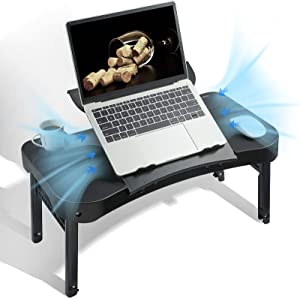 Laptop Stand for Bed - EduSoho Adjustable Laptop Desk for Bed Fits up to 15.6 inch Laptop Foldable with Cooling Fan, USB Port & Cup Holder,Right- Left Handed
