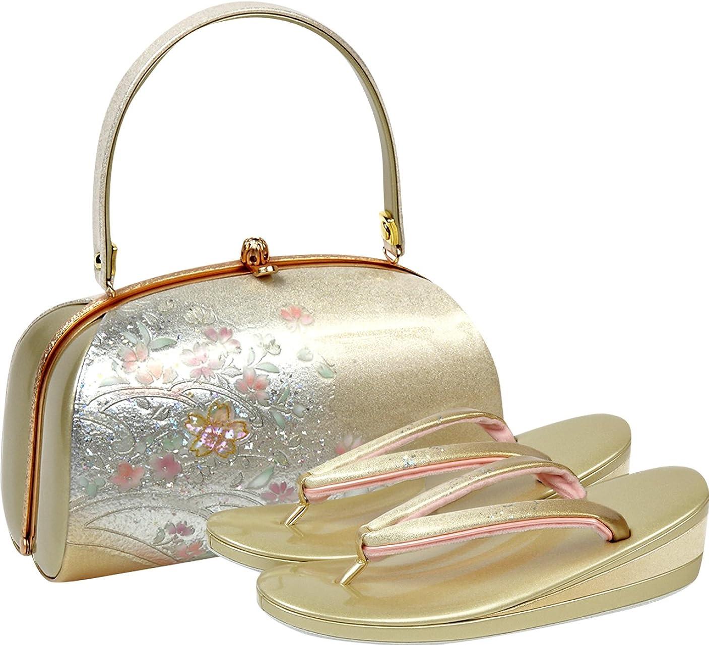 緑枯渇悲観的草履バッグセット レディース Fサイズ 螺鈿 桜 ゴールド N1935