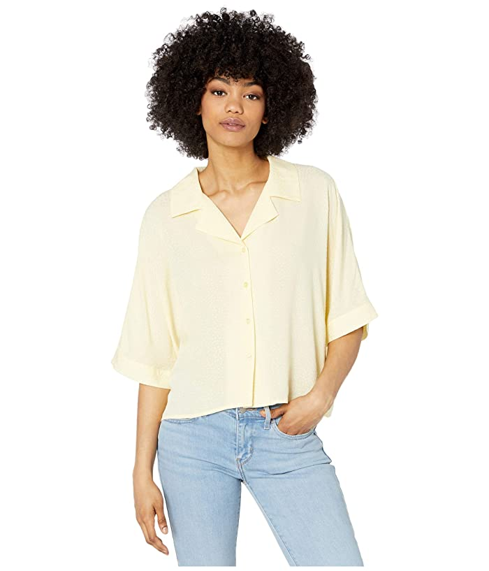Cupcakes and Cashmere  Abra Dotted Rayon Jacquard Collared Dolman Top (Pear Sorbet) Womens Clothing